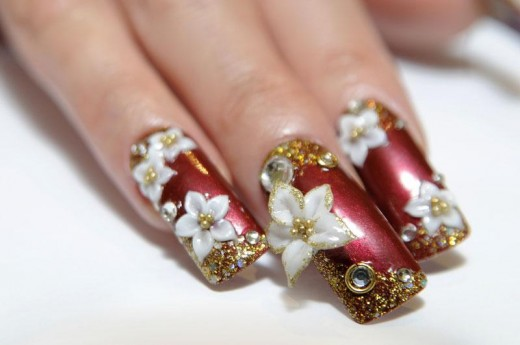 Cool Flower Christmas Nail Art Picture