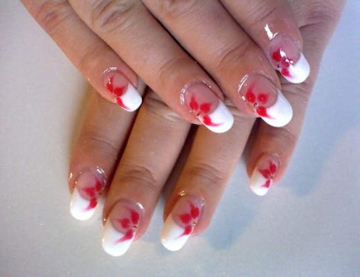 Happy New Year Flowers Nails Art