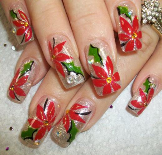 Santa Flower Nail Design for 2016