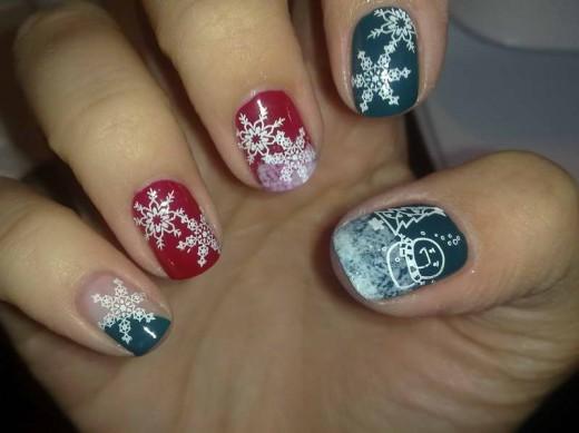 Snow Flower Christmas Nail Art for Girls
