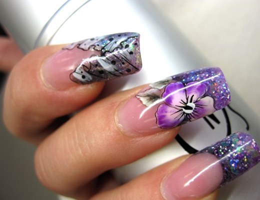 Winter Flower Nail Art Design
