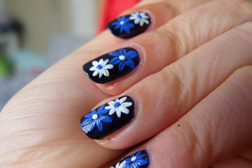 Blue and White Flower Nail Art Designs