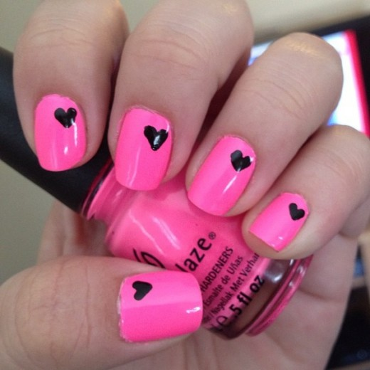 Latest Pink and Black Heart Nail Art Designs 2016