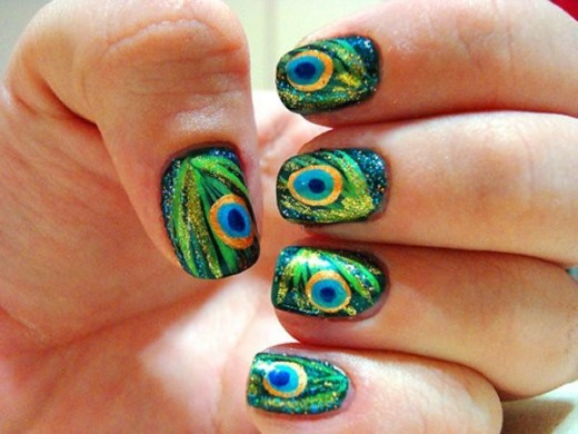 Peacock Nail Art Fashion for Spring 2016