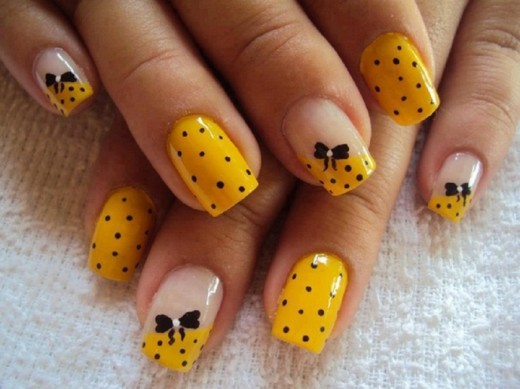 Yellow and Bow Nail Art Designs for Party 2016
