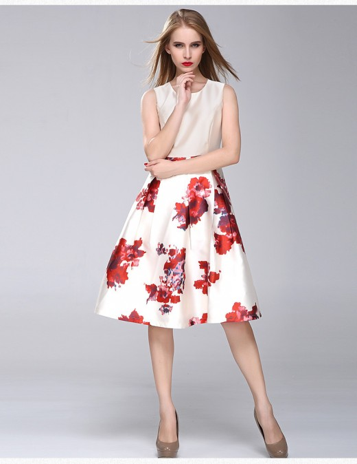 Autumn White Floral Print Summer Dress