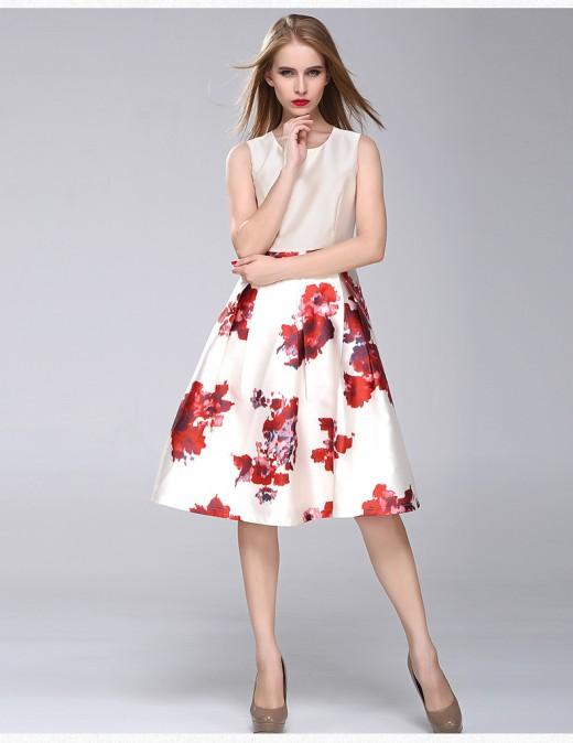 Autumn White Floral Print Summer Dress