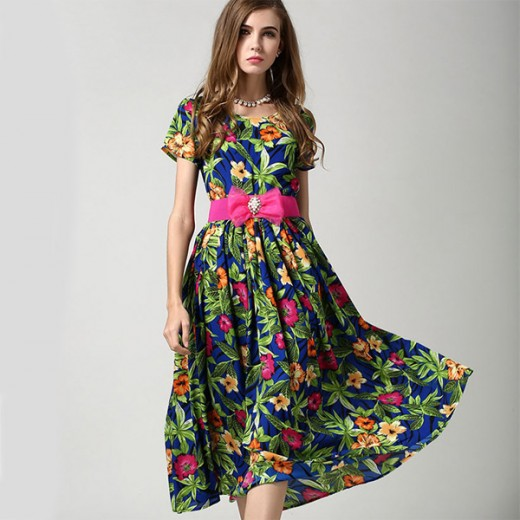 Chiffon Floral Print Maxi Dress With Belt 2016