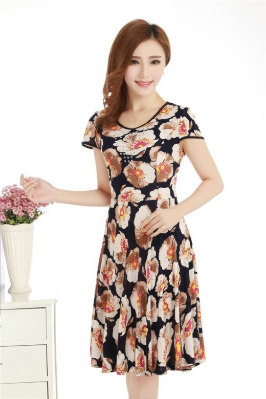 Elegant O-Neck Slim Floral Print Causal Dress