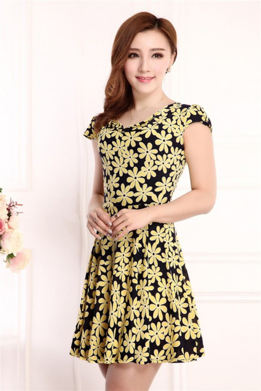 Floral Print Short Sleeve Slim Dress for Ladies