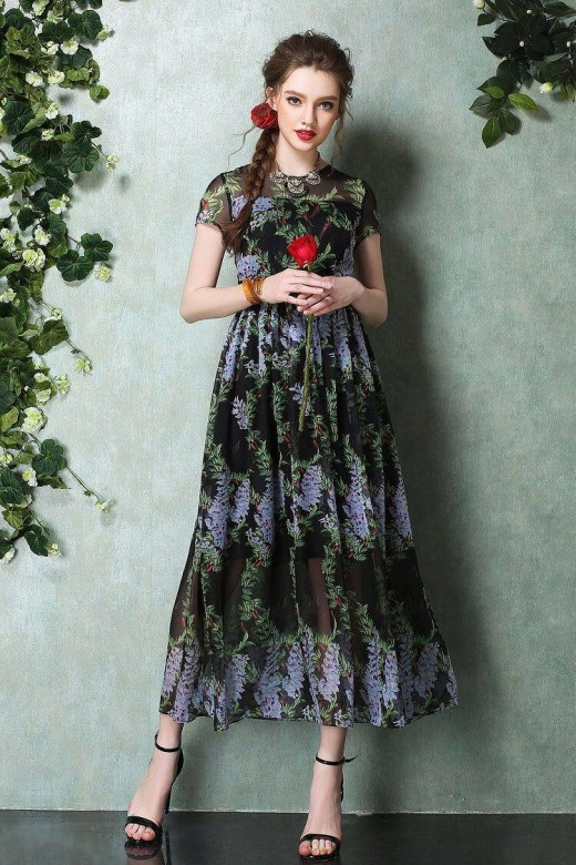 Maxi Long Green Floral Print Dress for Summer