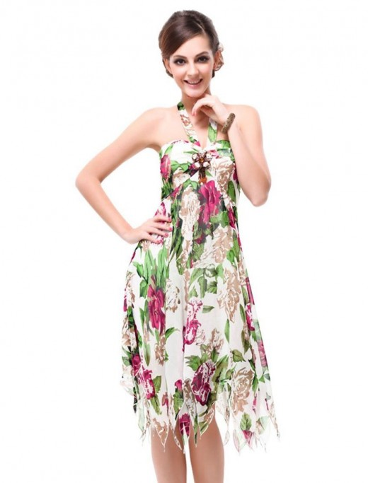Pretty Floral Printed Chiffon Padded Women Outfits