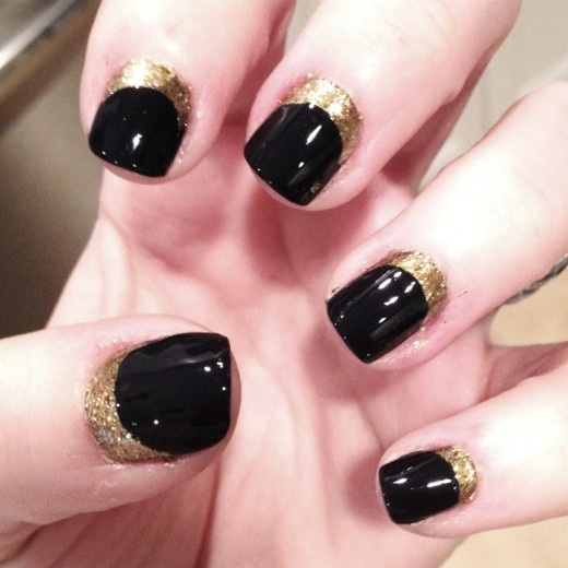 Black and Golden Nail Art for Short Nails