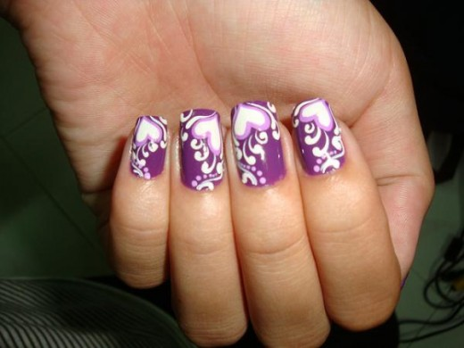 Heart Shaped Purple Nail Paint Designs 2016