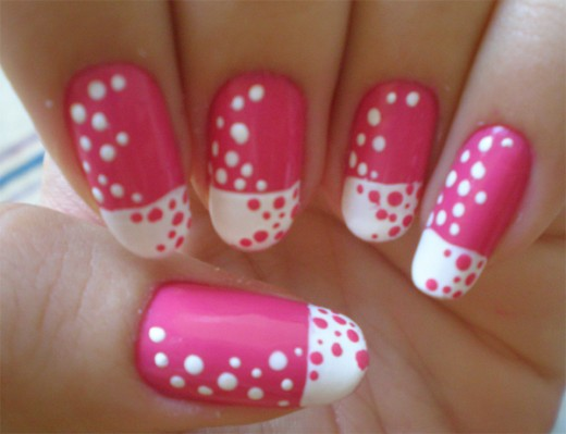 Pink and White Dotted Nail Paint Ideas