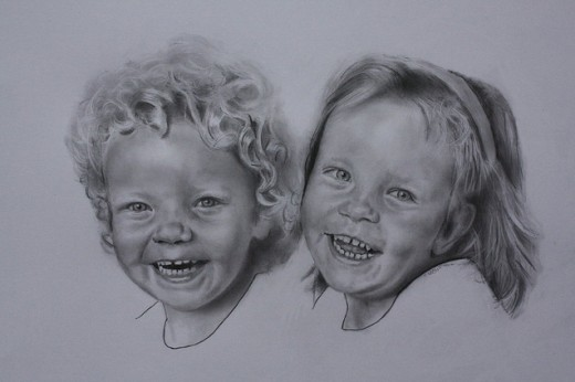 Boy and Girl Pencil Drawing