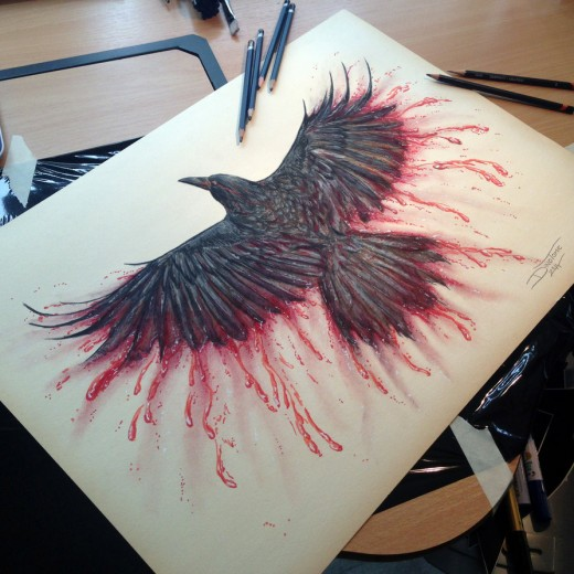 Crow Color Pencil Drawing