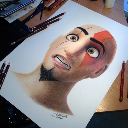 Dinsey Kratos Color Pencil Drawing