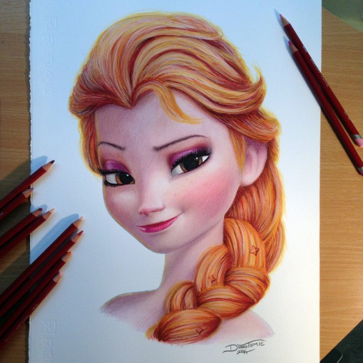 Elsa Color Pencil Drawing