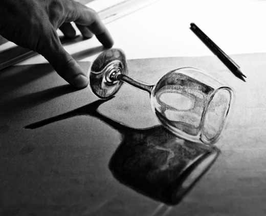 Transparent Glass 3D Anamorphic Drawing