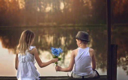 Boy Girl Cute Friendship Wallpaper