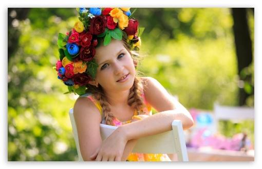 Cute Girl Flowers Wallpaper