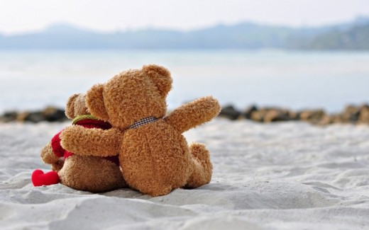Cute Teddy Bears Romantic Wallpaper