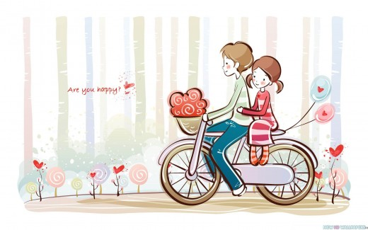 Cute Valentine Love Couple Cartoon