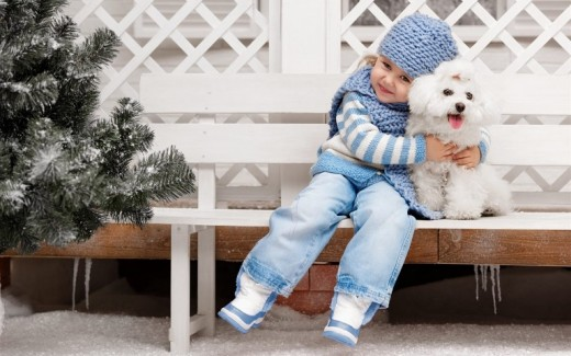 Little Girl and White Puppy
