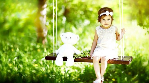 Teddy Bear and Girl On Swing Wallpaper