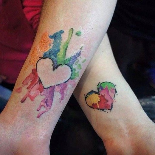 Heart Shaped Water Color Mom Tattoo Designs