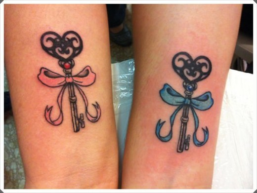 Key Inspired Mom and Daughter Tattoos