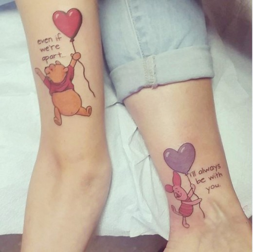 Mother Daughter Leg Tattoo Design Pictures