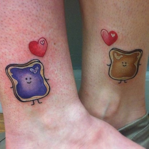 Peanut Butter Jelly Tattoo Art for Mother and Daughter