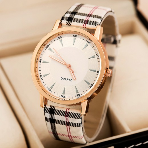 Black and White Leather Watch for Girls