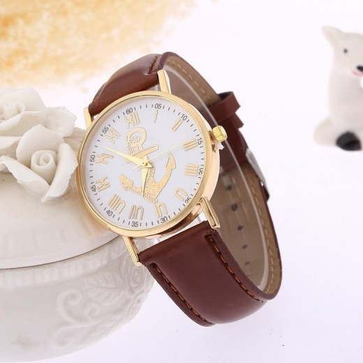 Simple Circular Anchor Watches for Women