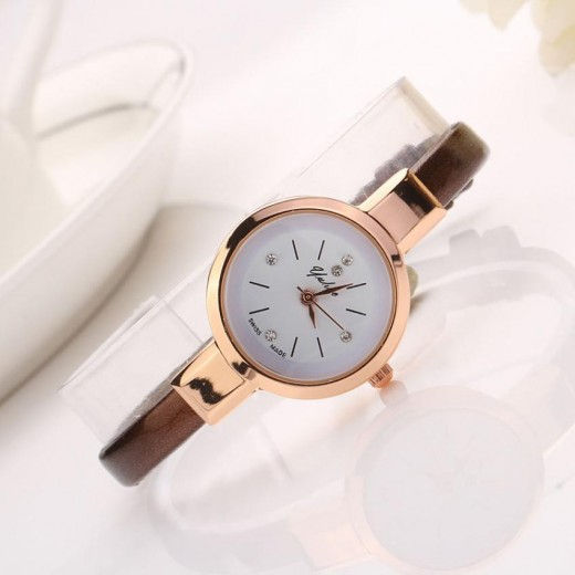 Small Dial Leather Analog Quartz Bracelet Wrist Watch