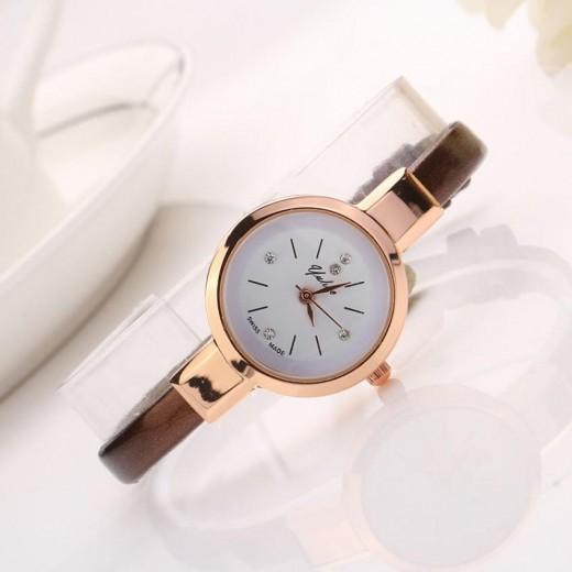 Small Dial Leather Analog Quartz Bracelet Wrist Watch